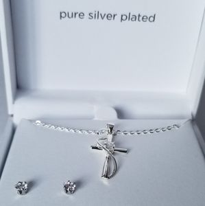 Pure Silver Plated Necklace & Earrings Set